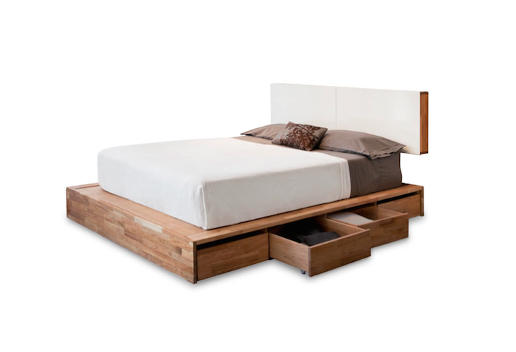 solid wood platform bed frame with storage and white headboard - Solid Wood Platform Bed Frame King