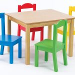 Square shaped wood table and simple and colorful wood chairs for kids