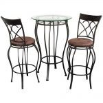Steel Pub Tables And Stools With Glass On Table Top