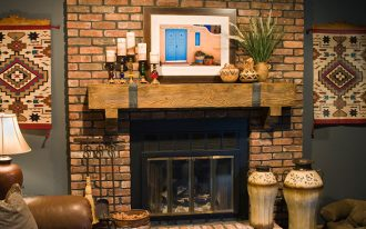 Stone Rustic Mantel Decor With Candle And Fireplace Cover