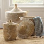 Stylish Pattern Of Senegalese Storage Baskets With Grey Fabric