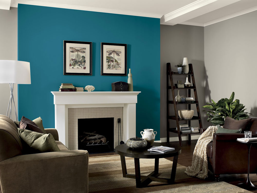 Teal Living Room Decor Of Wall With White Fireplace And Wooden Ladder  Shelves Part 6
