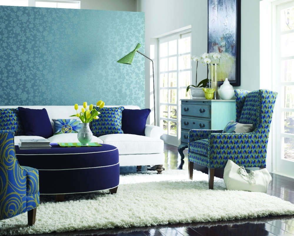 Teal Living Room Decor With Beautiful Wall Chair And White Fur Rug Part 51