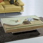 Transparent and frameless glass top center table with hardwood board at the base light black area rug idea pale yellow sofa with accent pillows