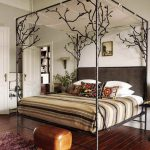 Tree Design Of Iron Canopy Bed Frame With Stripped Bed