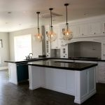 Triple Kitchen Pendant Light Fixture With Small Light Inside White Kitchen