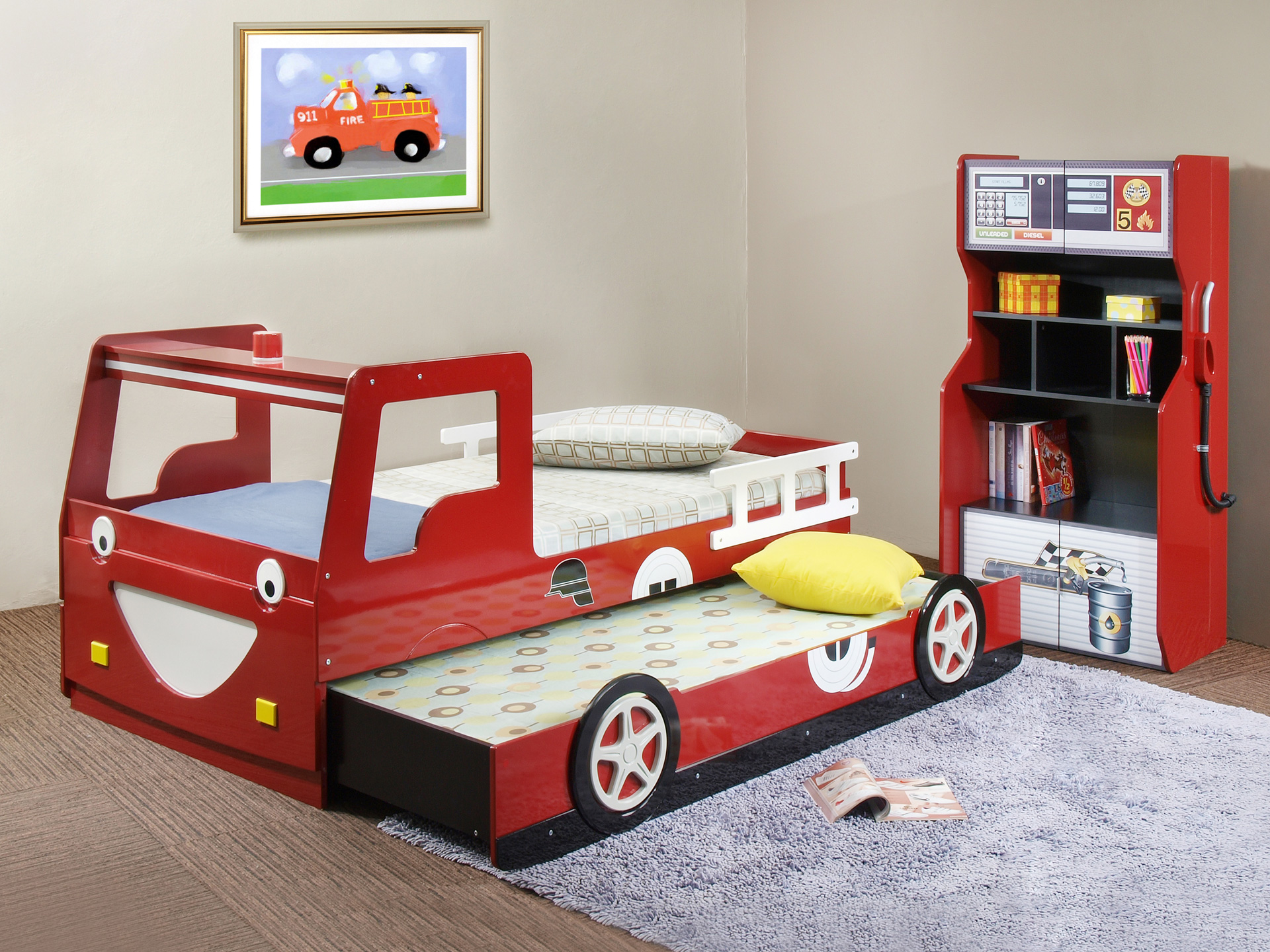 Trundle Beds For Children With Red Car Shape Of Bed And Fur Purple Rug
