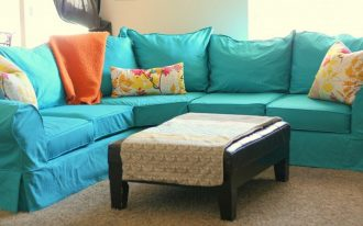 Turquoise Custom Couch Covers With Yellow Floral Pillows
