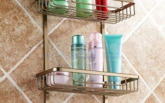 Two Layer Bathroom Shampoo Rack For Shower