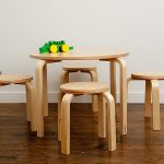 Unfinished wood round table and backless wood chairs for kids