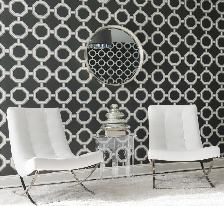 Unique and cool transparent acrylic side table a pair of modern white chairs round decorative mirror with nickel frame monochromatic wallpaper idea white shag area rug