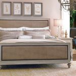 Upholstered Headboard With Nailhead Trim Design And Wooden Bed Frame
