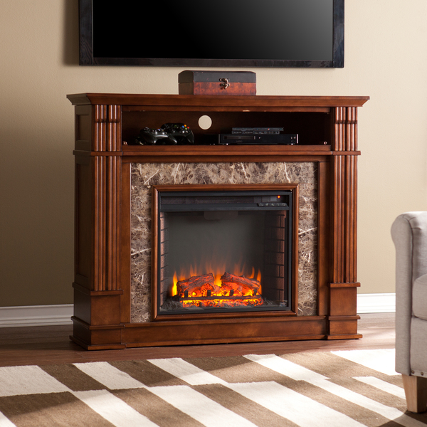 Superior Upton Home Vierling Whiskey Maple Faux Stone Electric
