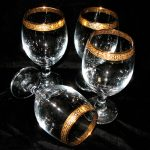 Vintage-Gold-Rimmed-Wine-glasses-and-Champagne-Glasses-set-of-four-at-etsy-with-glass-and-gold-leaf-materials-and-a-vintage-item-of-1970s