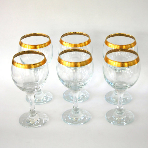 Nice Gold Rimmed Wine Glasses on 1970s Living Room Furniture