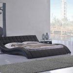 Wavy Black Modern Low Profile Platform Bed Frame With Long Fur Rug