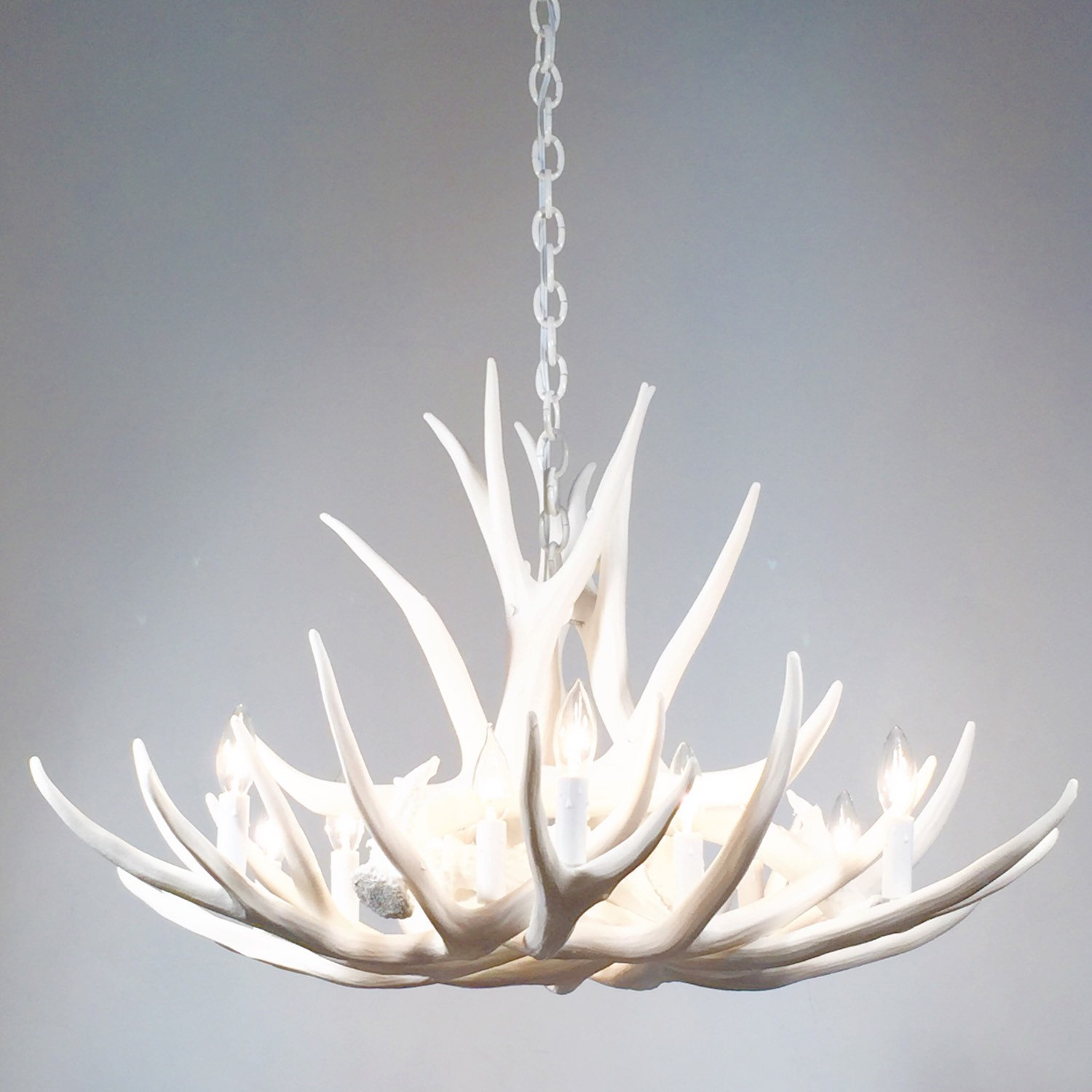 White Antler Chandelier With Chain
