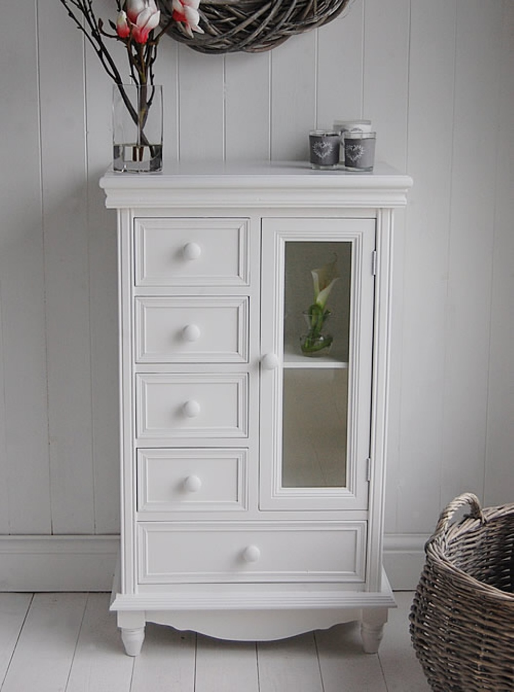 White Bathroom Storage Cabinet With Glass Doors And Drawers & Storage Cabinet with Glass Doors | HomesFeed