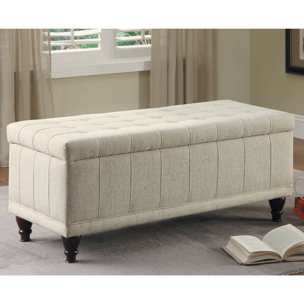 White Fabric End Of Bed Storage Bench