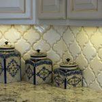 White Ice Granite Beveled Arabesque Tile