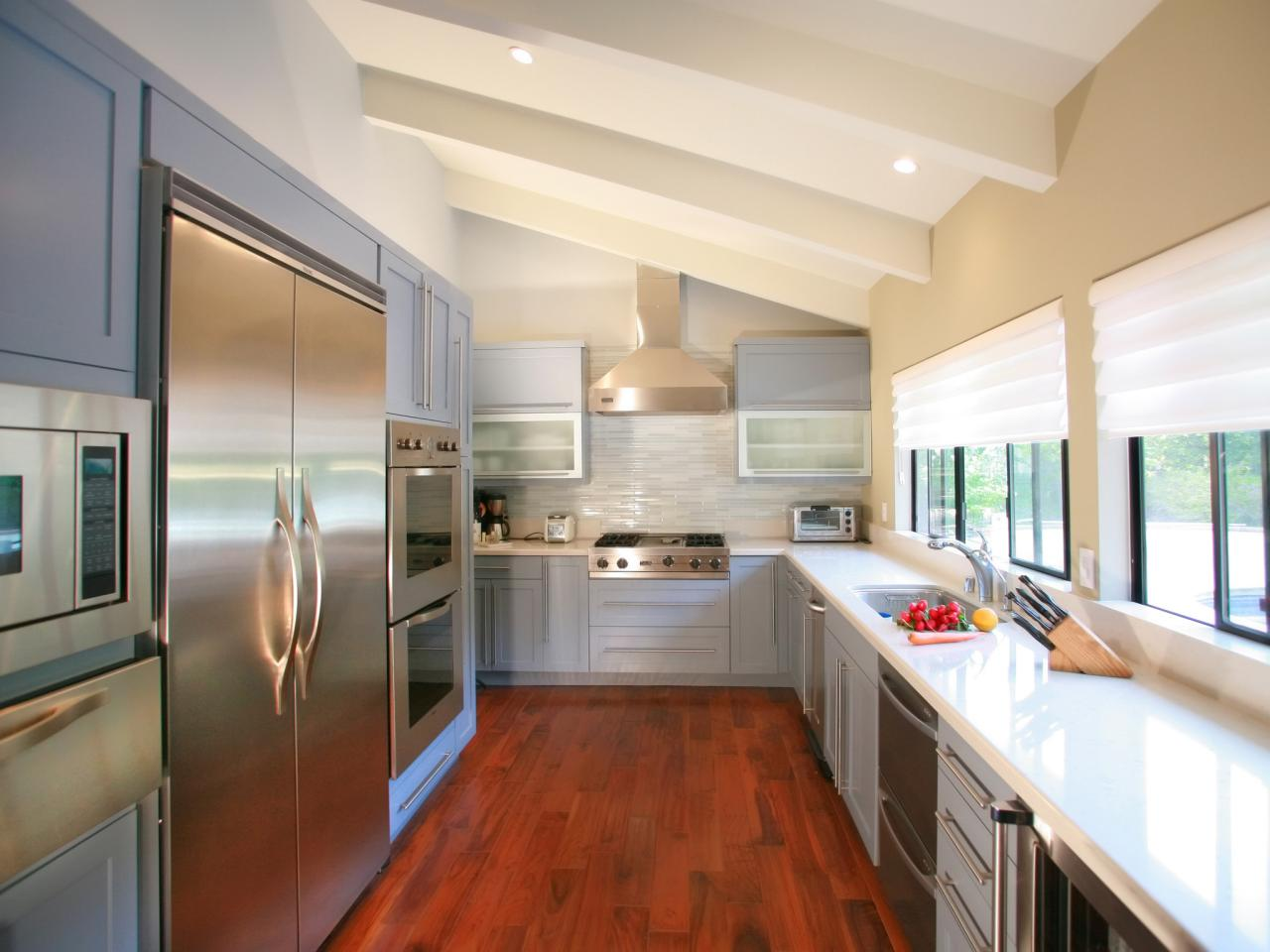 White Kitchen With Contemporary Window Valances And Grey Cabinet