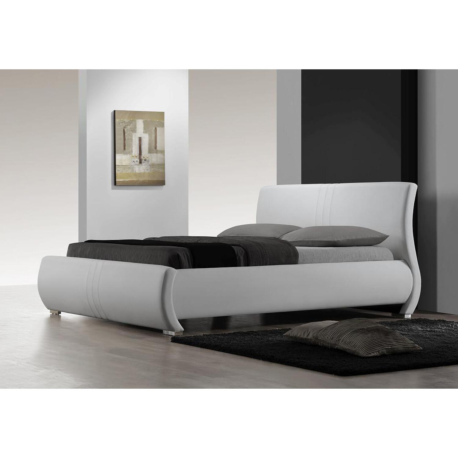 Modern king size bed frames - White Leather Modern King Size Bed Frame