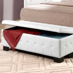White Modern Upholstered Bench With Storage And Bed