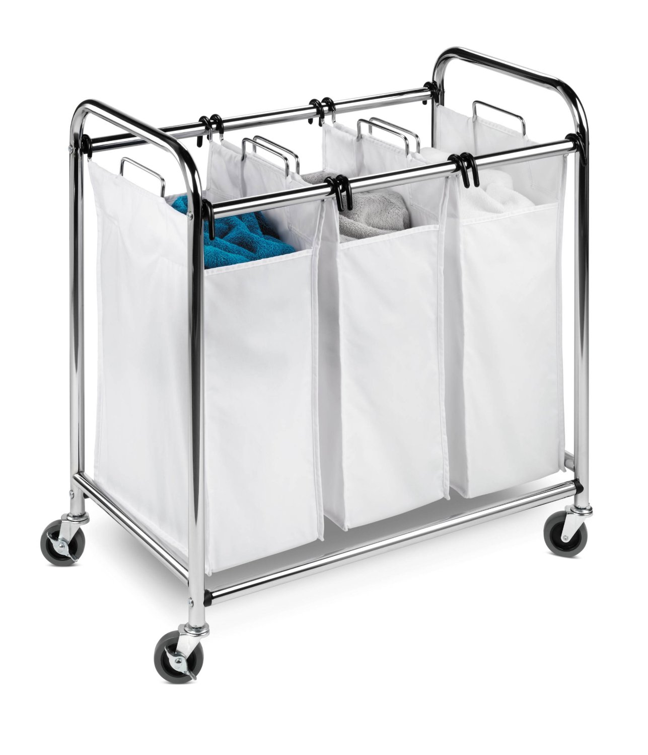 White Section Of Laundry Baskets With Wheels