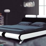 White Simple Modern King Size Bed Frame With Black Bed