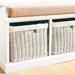 White Small Bench With Storage And Baskets