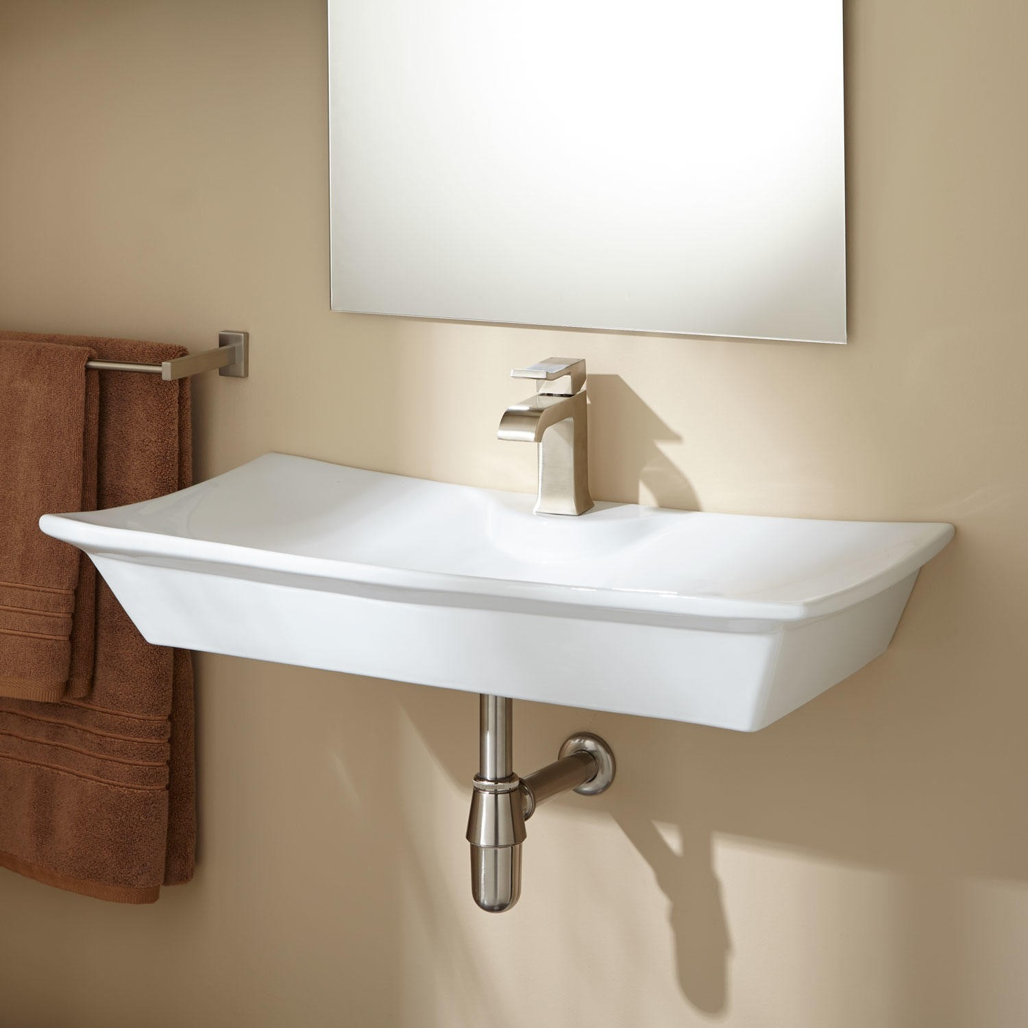 Charming White Small Wall Mount Sink With Mirror And Towel Holder