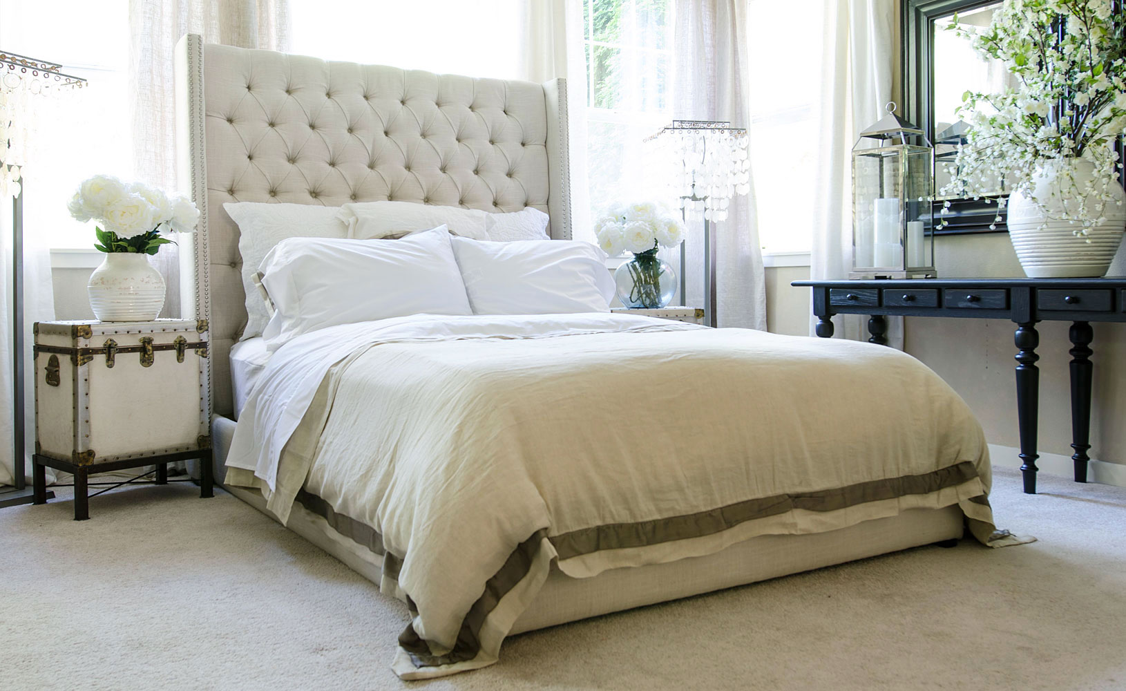 King Size Platform Bed With Upholstered Headboard