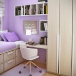 White Wooden Floating Small Bedroom Desks Next To Wardrobe And Purple Bed