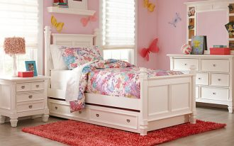White bed frame with storage  white headboard and white footboard white bedside table with drawer system white bedroom vanity with mirror red shaggy bedroom rug