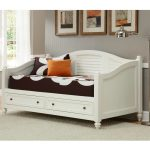 White coated wood daybed frame idea with drawers and comfy bedding plus its pillows white area rug