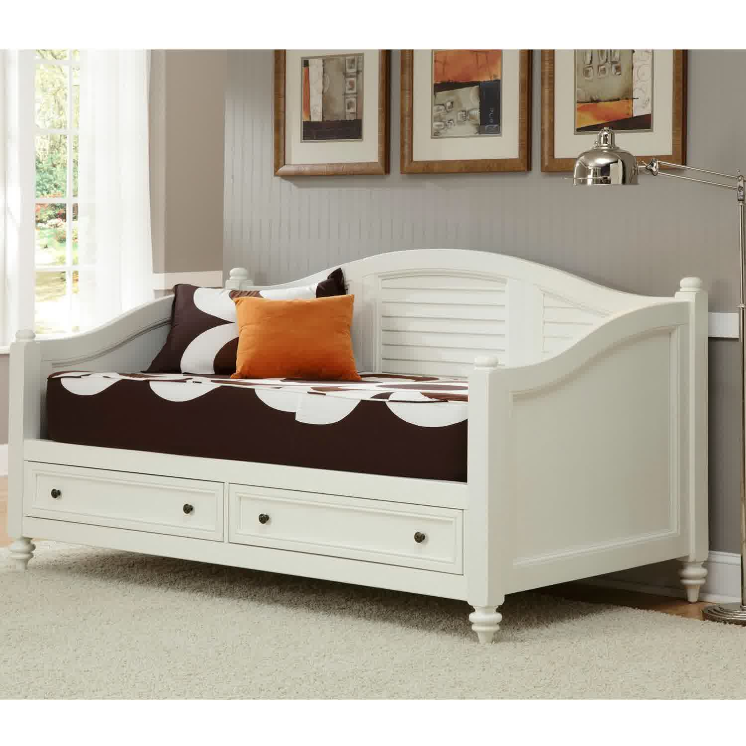 Daybed frame wooden - White Coated Wood Daybed Frame Idea With Drawers And Comfy Bedding Plus Its Pillows White Area