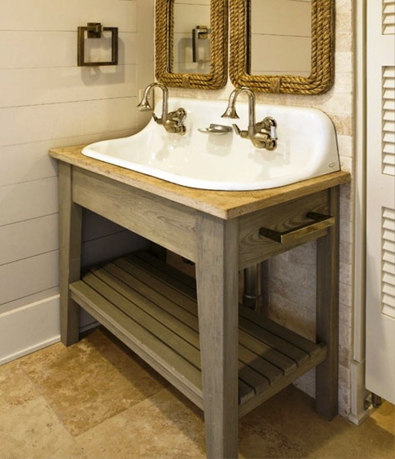 Burlington Corner Sink : white kohler sink with gold tone water faucet and wooden sink stand ...