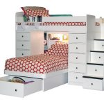 White loft bed idea from Berg with double sets of bed drawer system and stairs