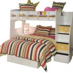 White loft bed with stairs and additional bigger trundle