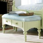 White painted wood end bed bench with drawers and blue strip cushion