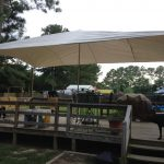 White Shade Sail DIY For Home Deck With Shabby And Unfinished Wood Rail System Plus Wood Staircase
