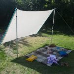 White shade sail DIY for outdoor