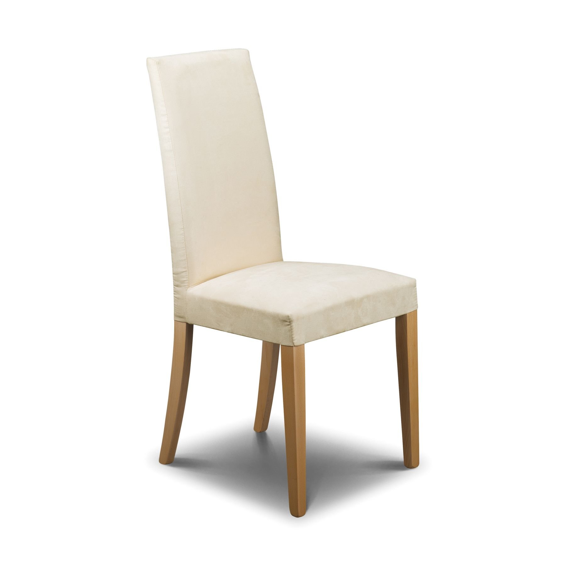 whooden white upholstered dining chair