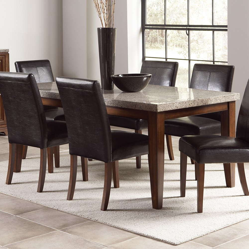 Granite Dining Table Set HomesFeed : Wonderful Granite Dining Table Set With Six Black Leather Chairs And White Rug from homesfeed.com size 1000 x 1000 jpeg 251kB