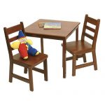 Wood table and a pair of wood chairs for kids in dark brown finishing