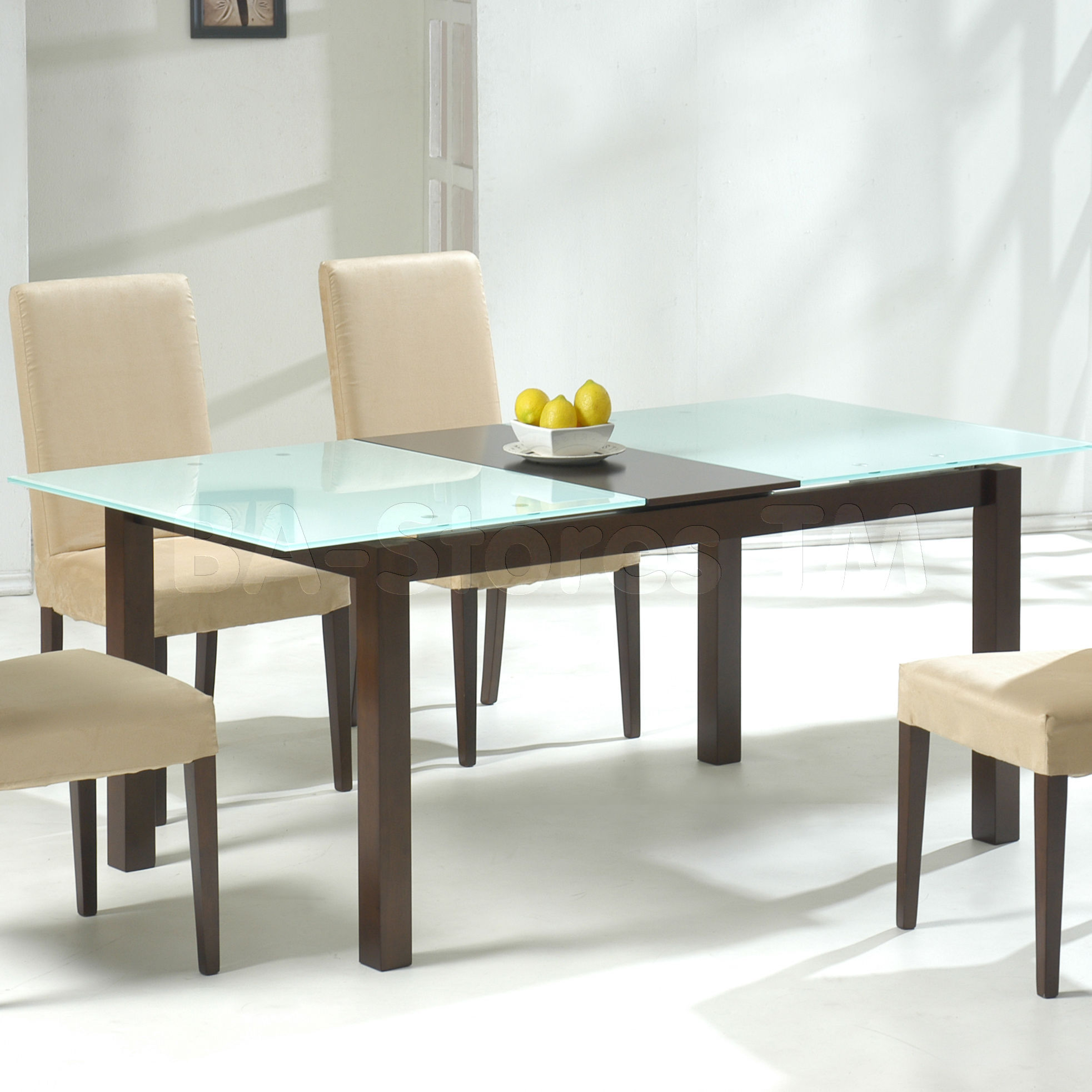 Wonderful Small Rectangular Glass Dining Table Part - 12: Wooden And Glass On Top Of Small Rectangular Dining Table With White Chairs