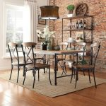 Wooden And Wrought Iron Of Oxford Creek Furniture With Classic Chandelier