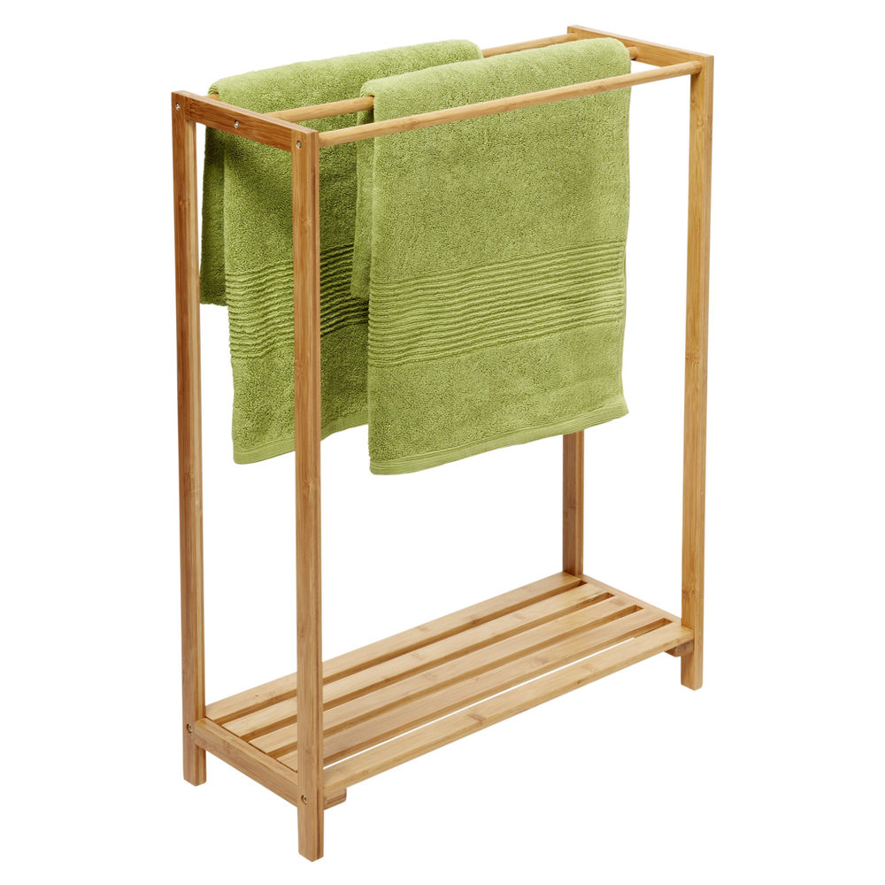 free standing towel racks  homesfeed - wooden free standing towel racks with double green towels