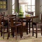 Wooden High Top Table Sets With Six Chairs And One Rectangular Table