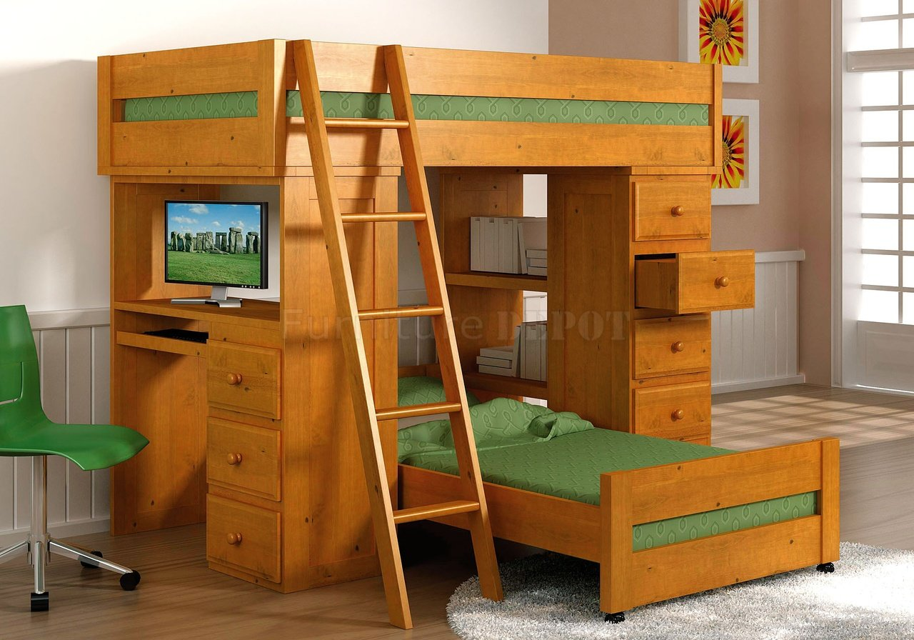 Wooden Loft Bunk Beds With Desks And Green Chair Mattress